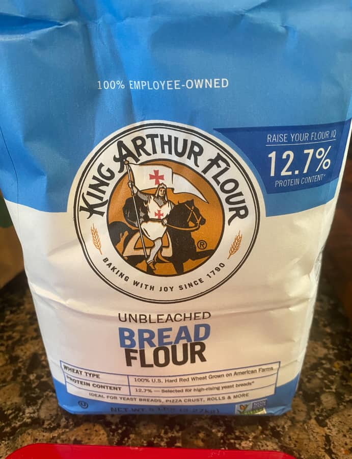 Photo of bread flour bag on counter