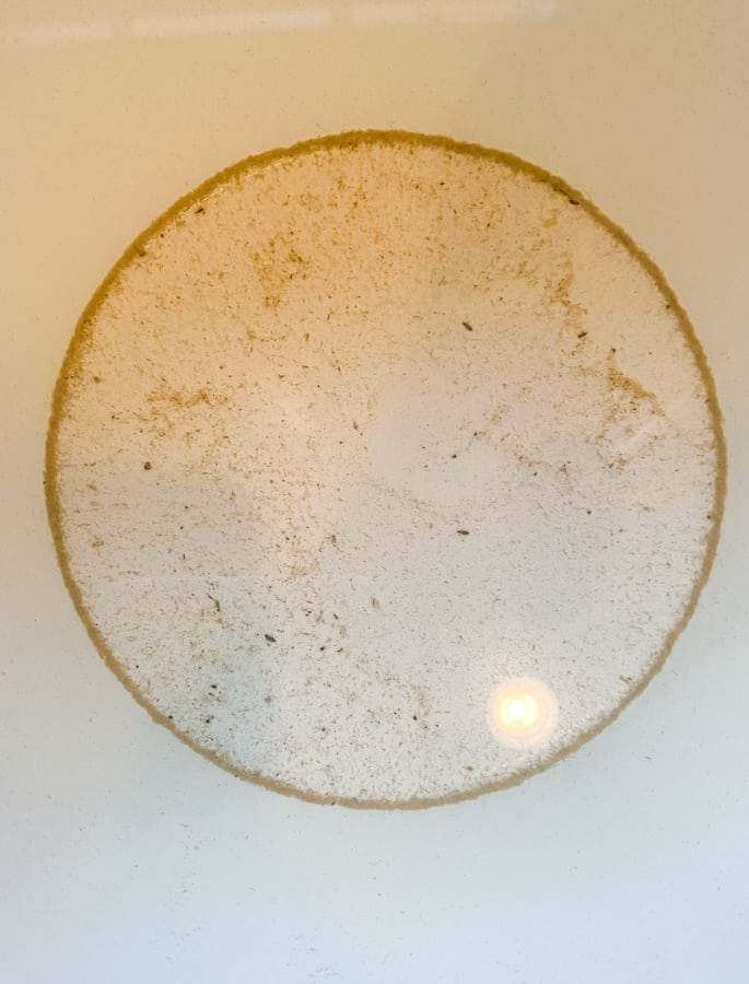 sand at the bottom of a bowl from clams soaking