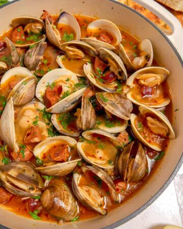 steamed clams in a white wine chorizo broth