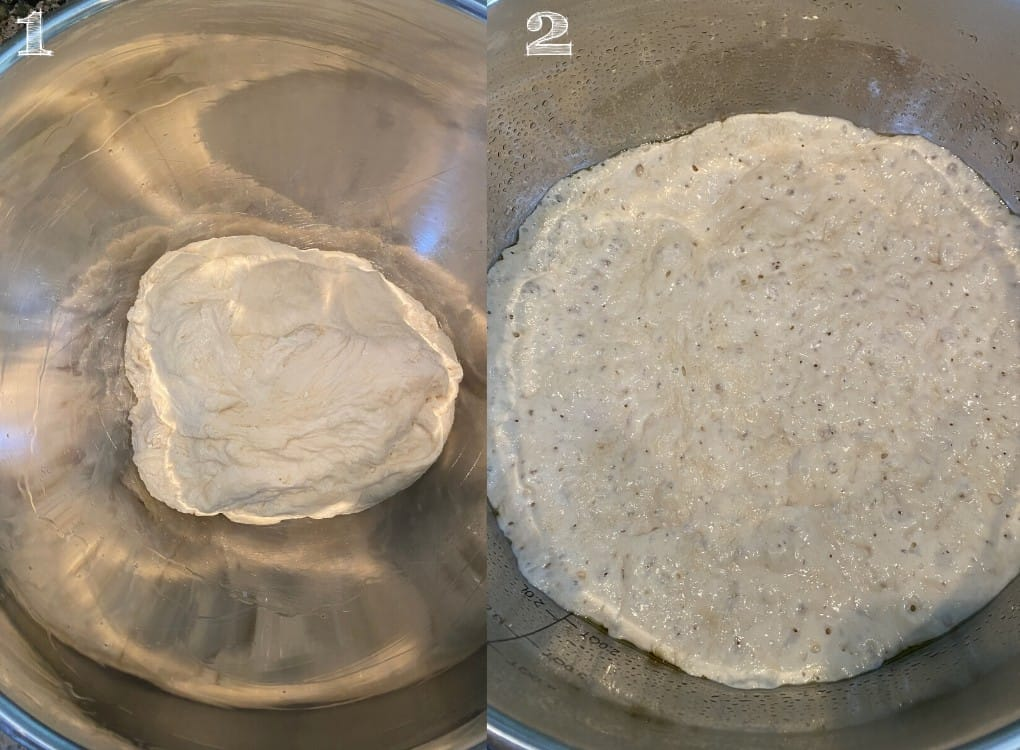 side by side photo of dough rising in a silver bowl