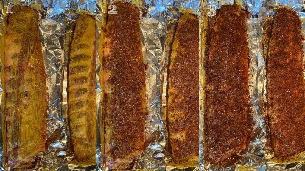 three step photo of mustard spread on ribs, then dry rub rubbed on the ribs