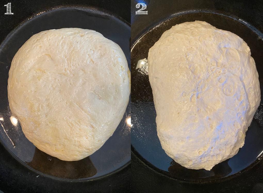 dough in cast iron spreading