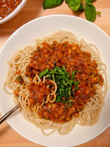 overhead photo of bowl with pasta spaghetti and lentil bolognese on top