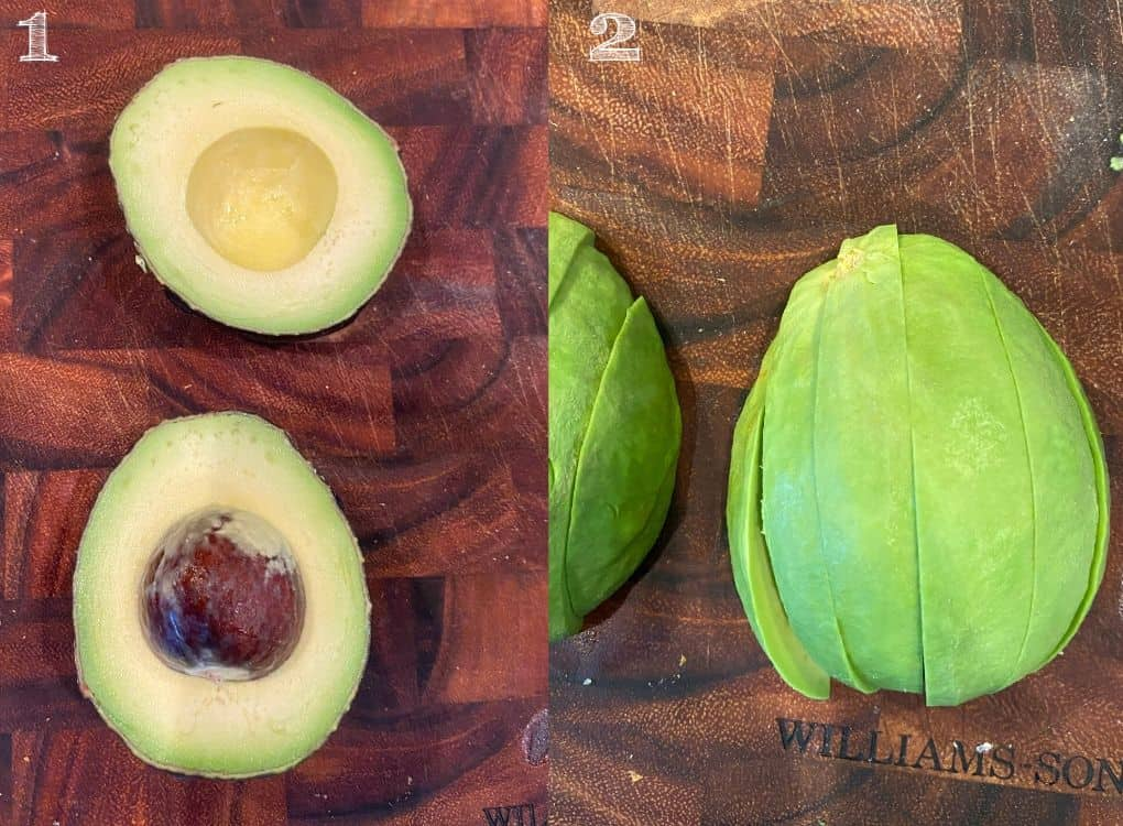 peeled and sliced avocado on a cutting board