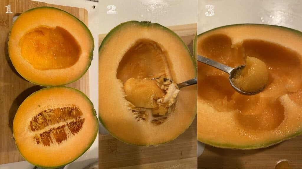 photo steps of cutting a cantaloupe in half and scooping the seeds out with a spoon