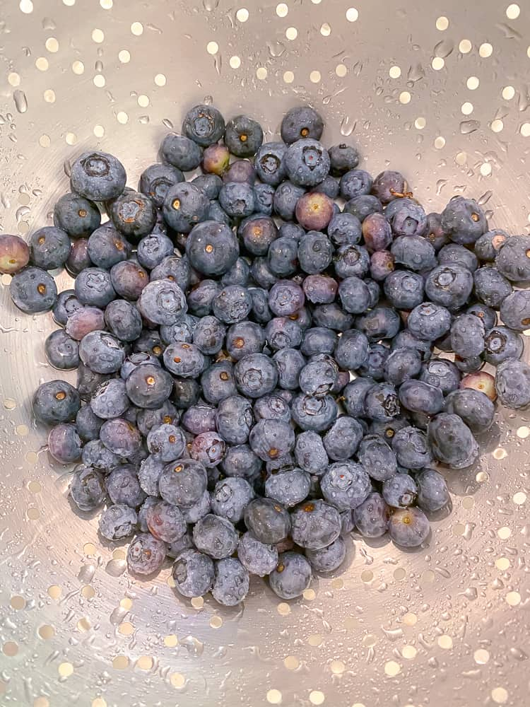 fresh blueberries in a silver colander