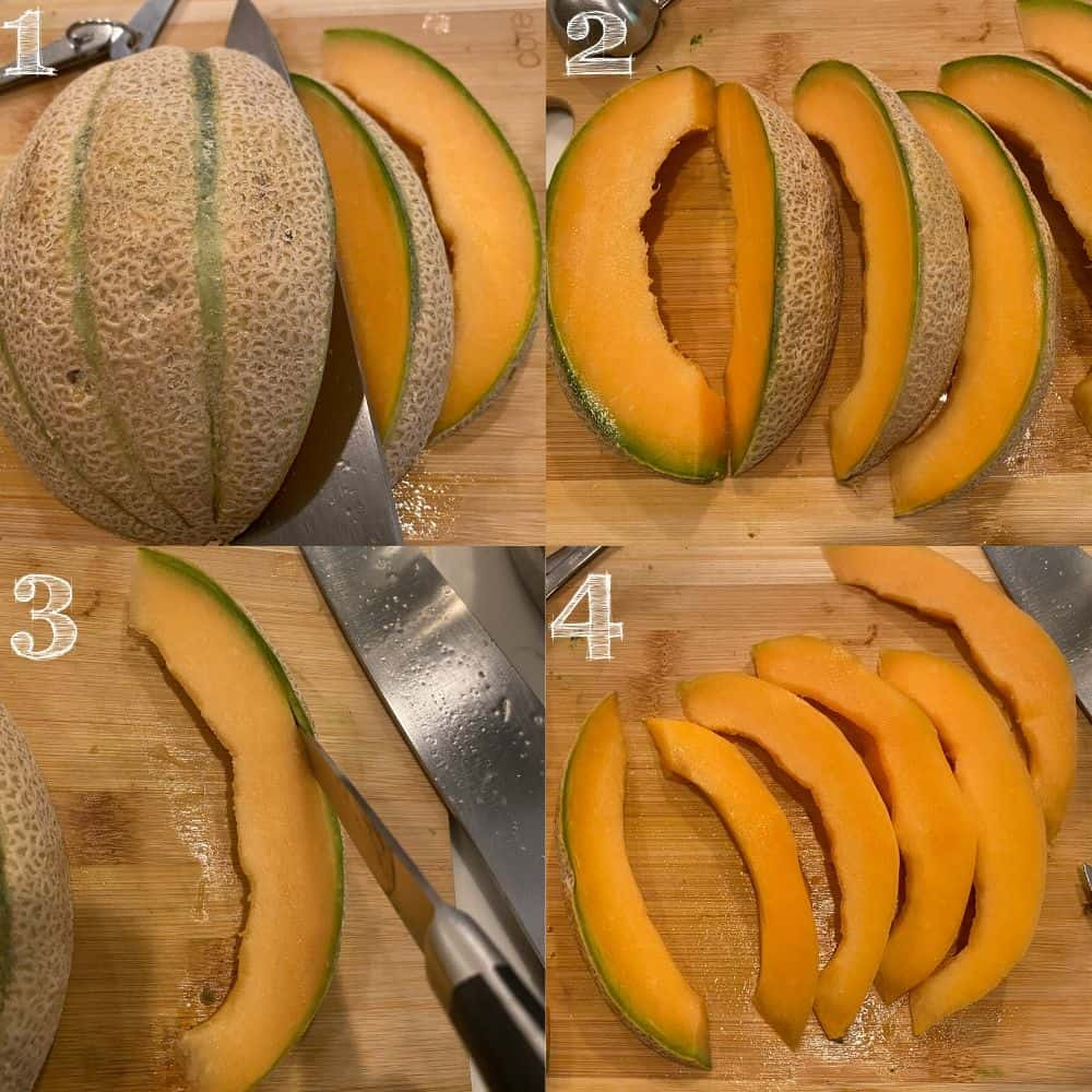 photo steps of cutting a cantaloupe and cutting the skin off with a knife on a cutting board