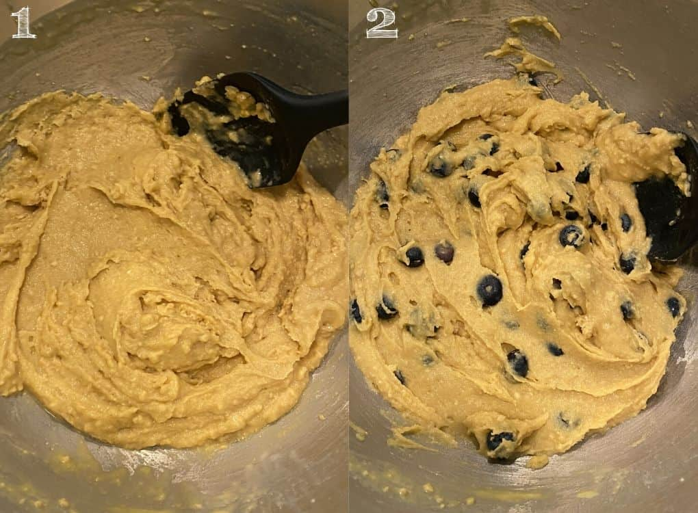 muffin batter with blueberries getting folded into the bowl