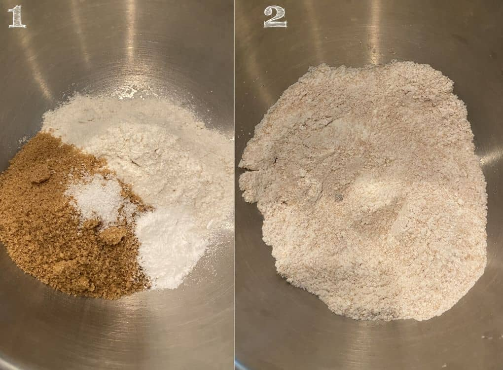 bowl of flour, sugar, salt, and baking powder