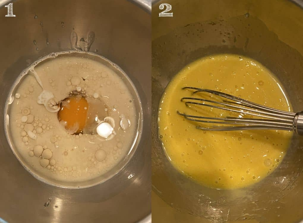 egg, milk, coconut oil, being whisked in a bowl