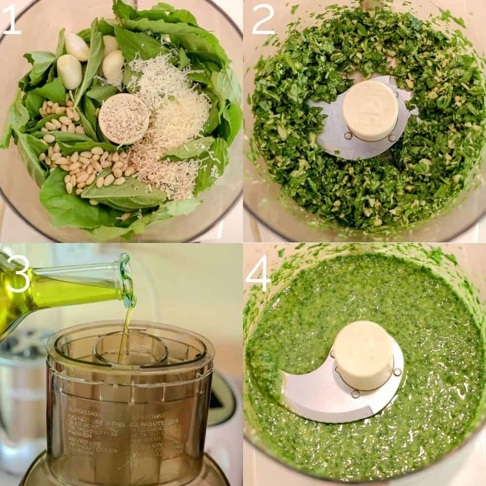 four step photo blending pesto in a food processor