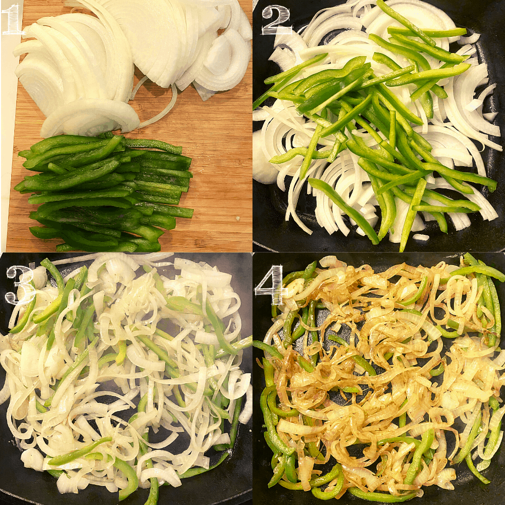 four step photo of caramelizing onions and green bell peppers in a cast iron skillet.