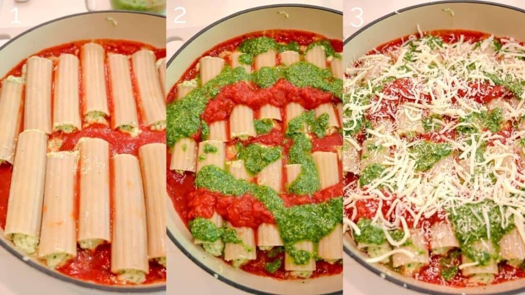 three step photo of manicotti in red sauce, topped with red sauce and pesto, then topped with mozzarella cheese