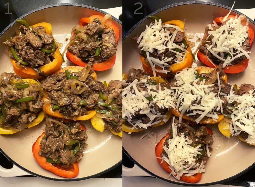 steak filling in halved bell peppers in a white casserole dish topped with cheese