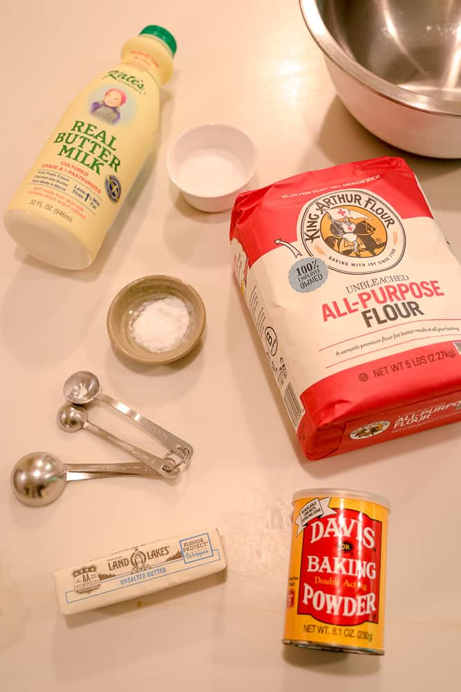 biscuit ingredients laid out on counter