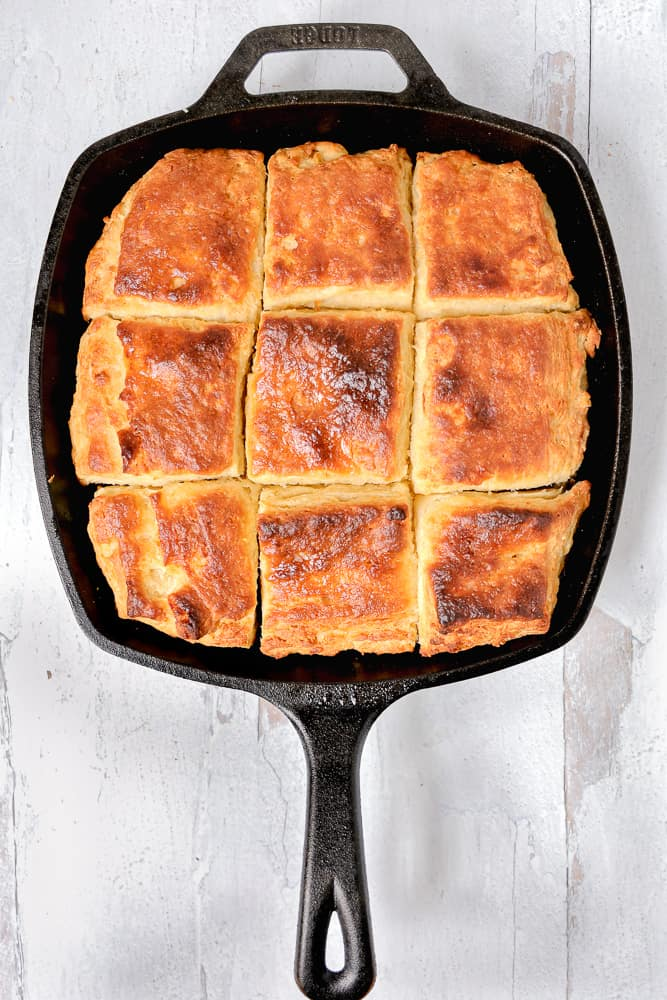overhead photo of biscuits in a cast iron skillet