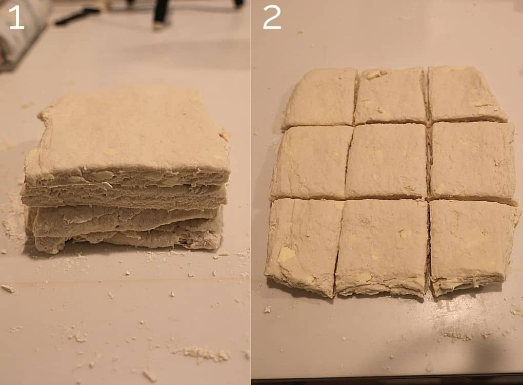 dough stacked up and then cut into squares