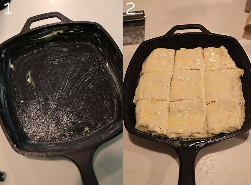 greased cast iron skillet with 9 cut biscuits inside