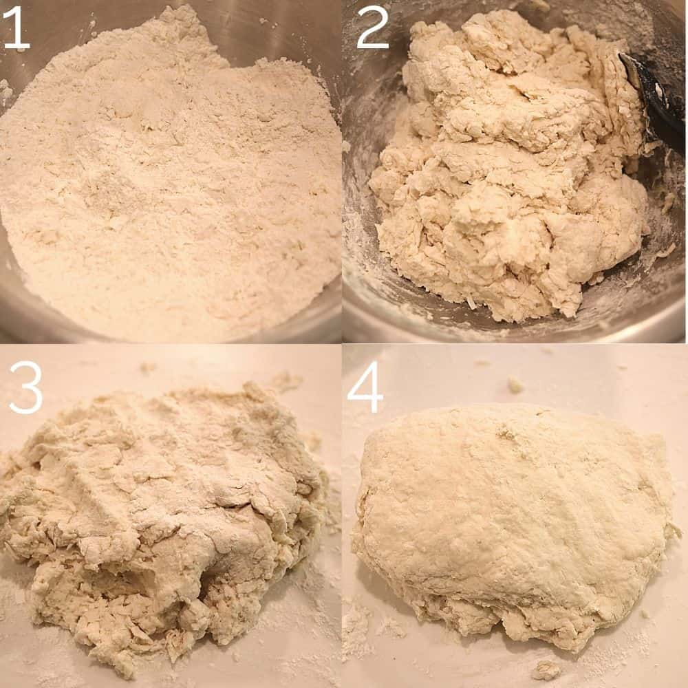 4 step photo combining biscuit dough in bowl