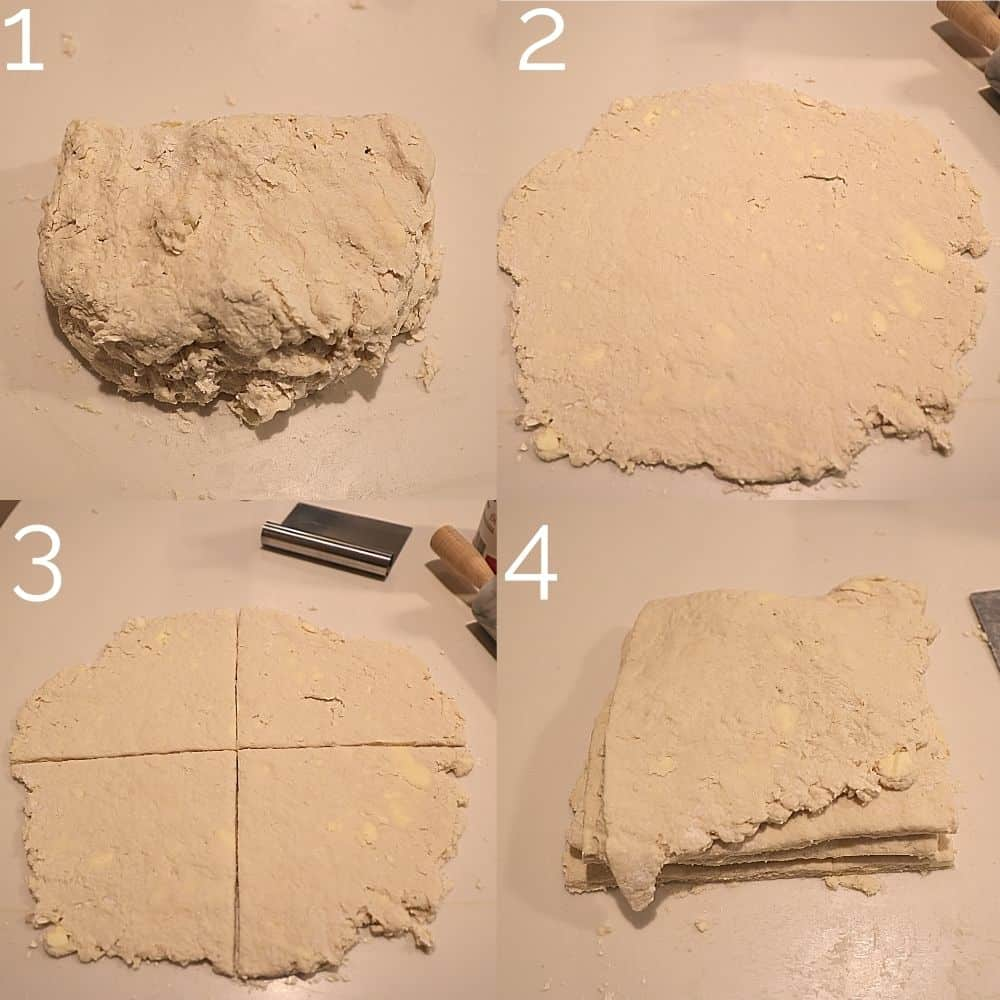 4 step photo rolling out biscuit dough and folding it