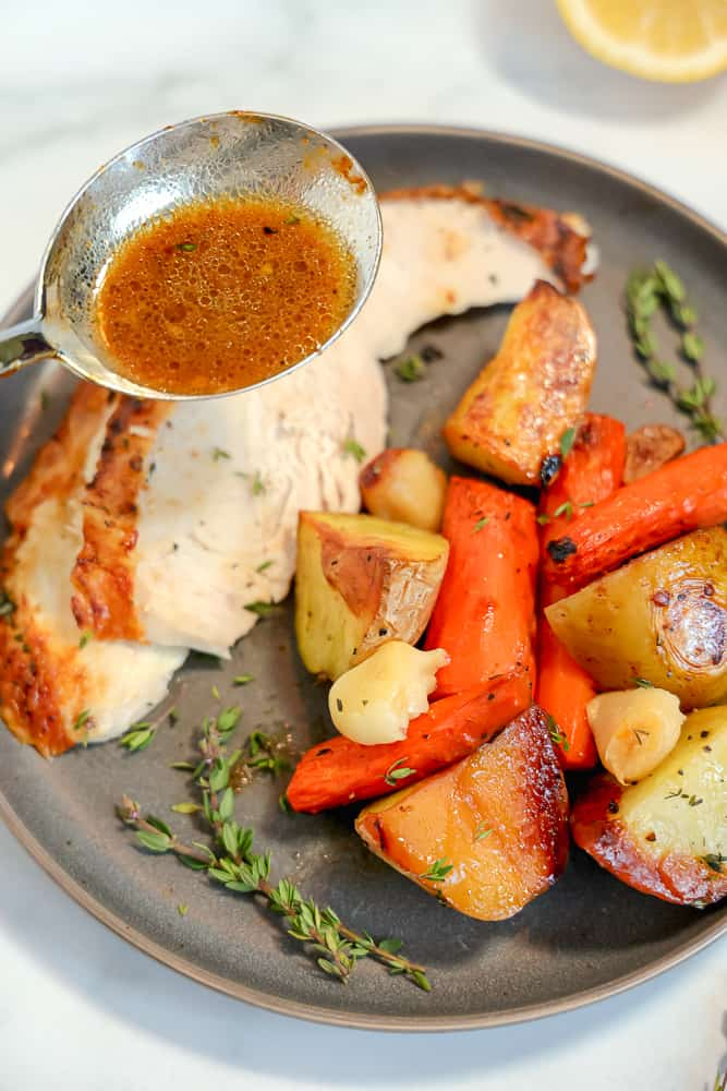 plate of roasted vegetables and chicken sliced