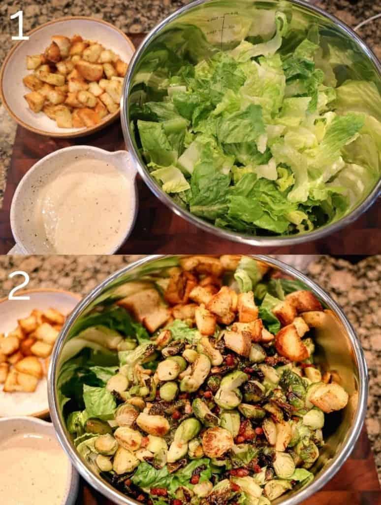 assembling caesar salad in a metal bowl