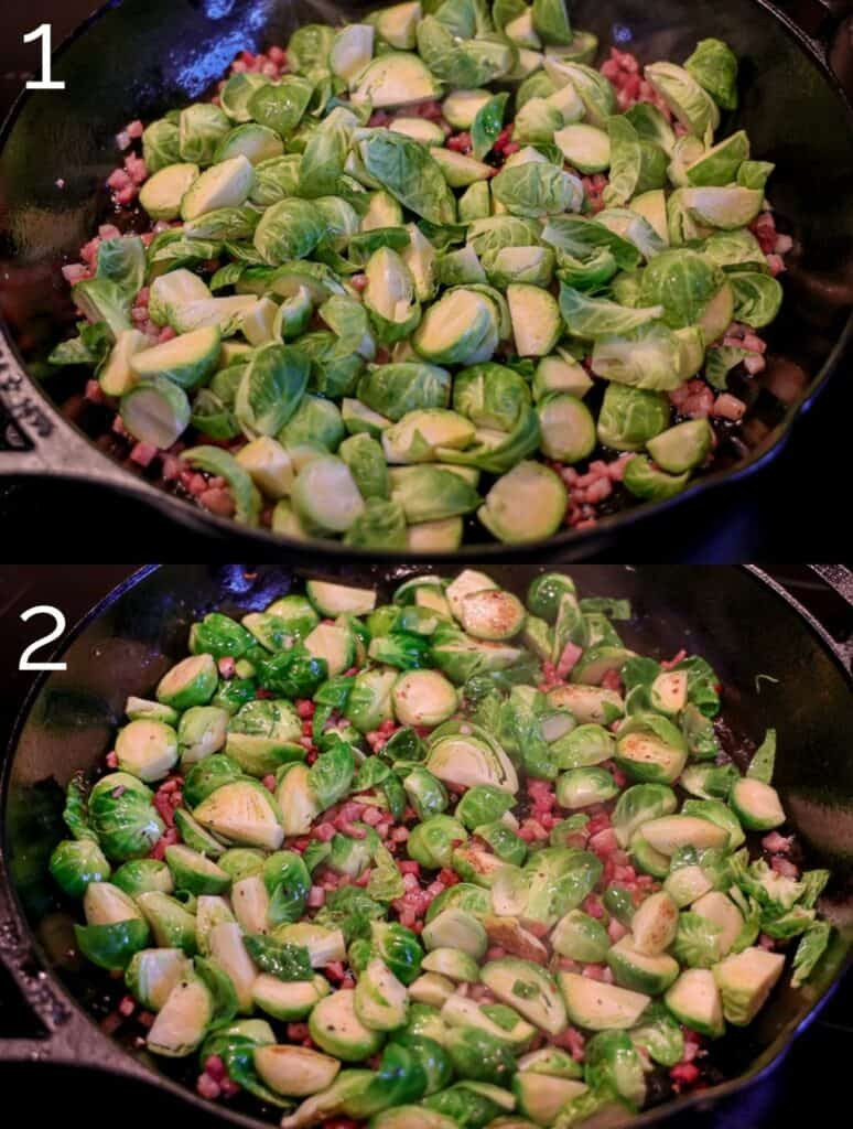 brussels sprouts and pancetta in a cast iron skillet