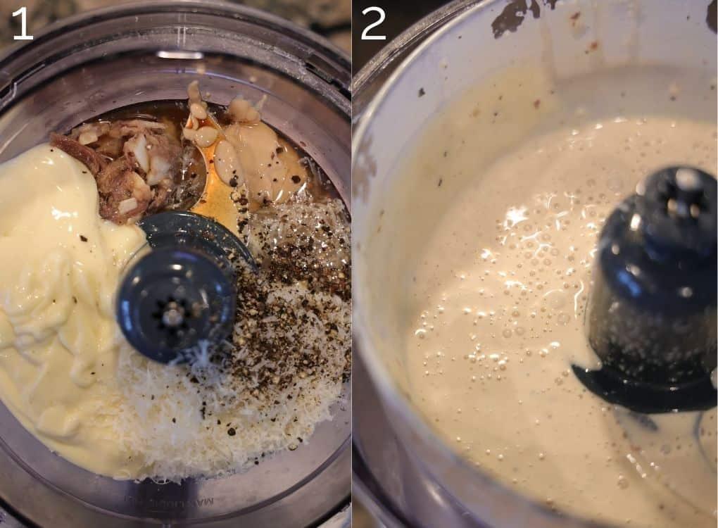making creamy caesar dressing in a food processor