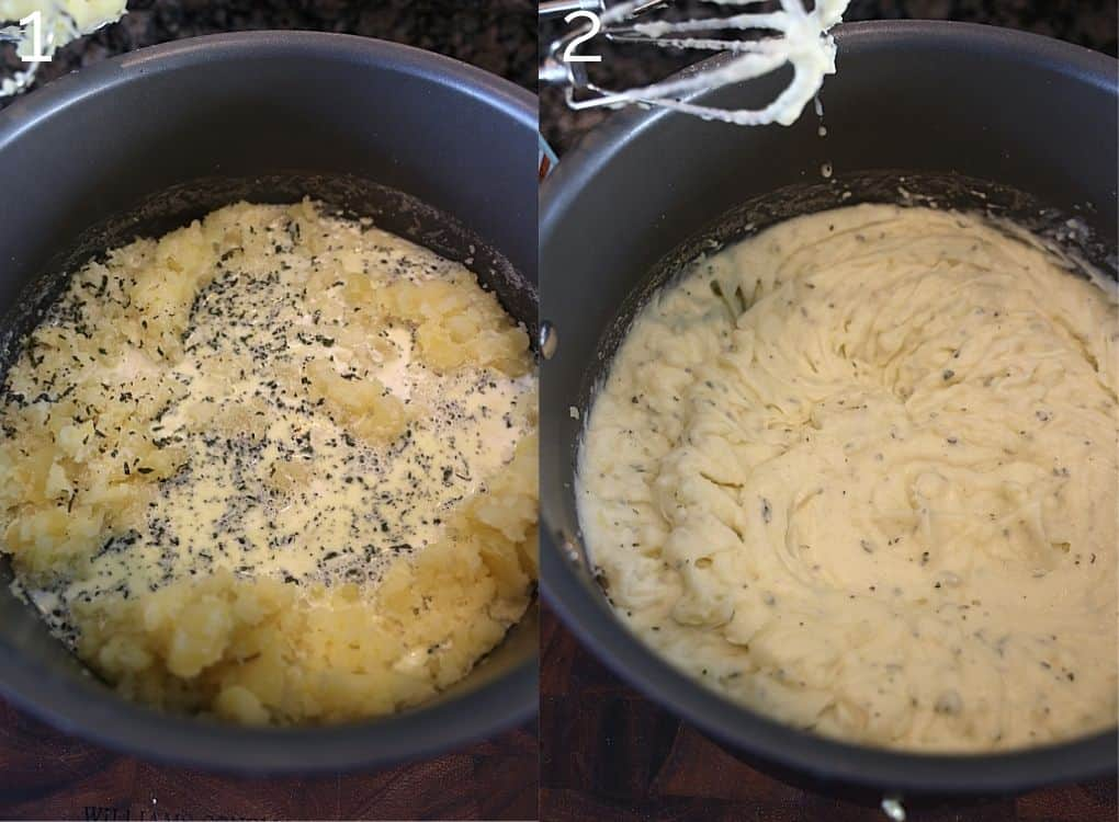 adding cream to mashed potatoes in pot
