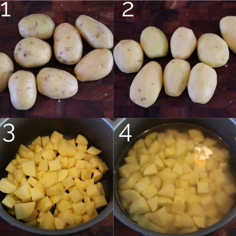 peeled potatoes and quartered into a pot of water