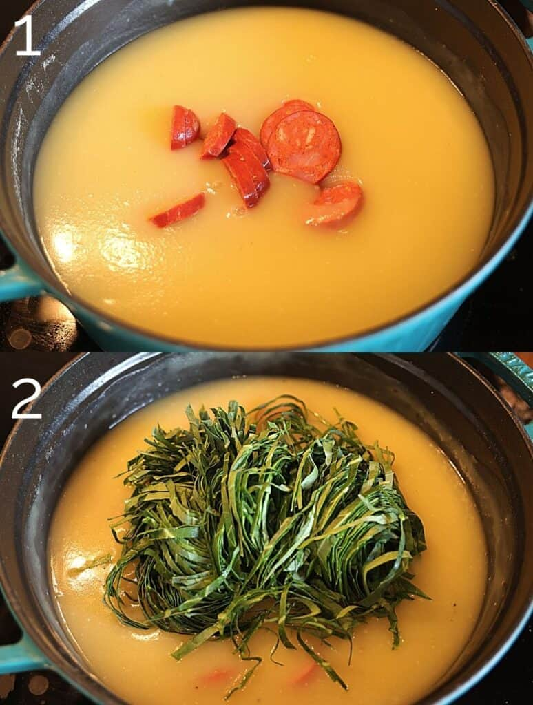 choriço and collard greens in soup pot