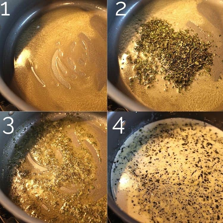 butter and herbs melting in a pot