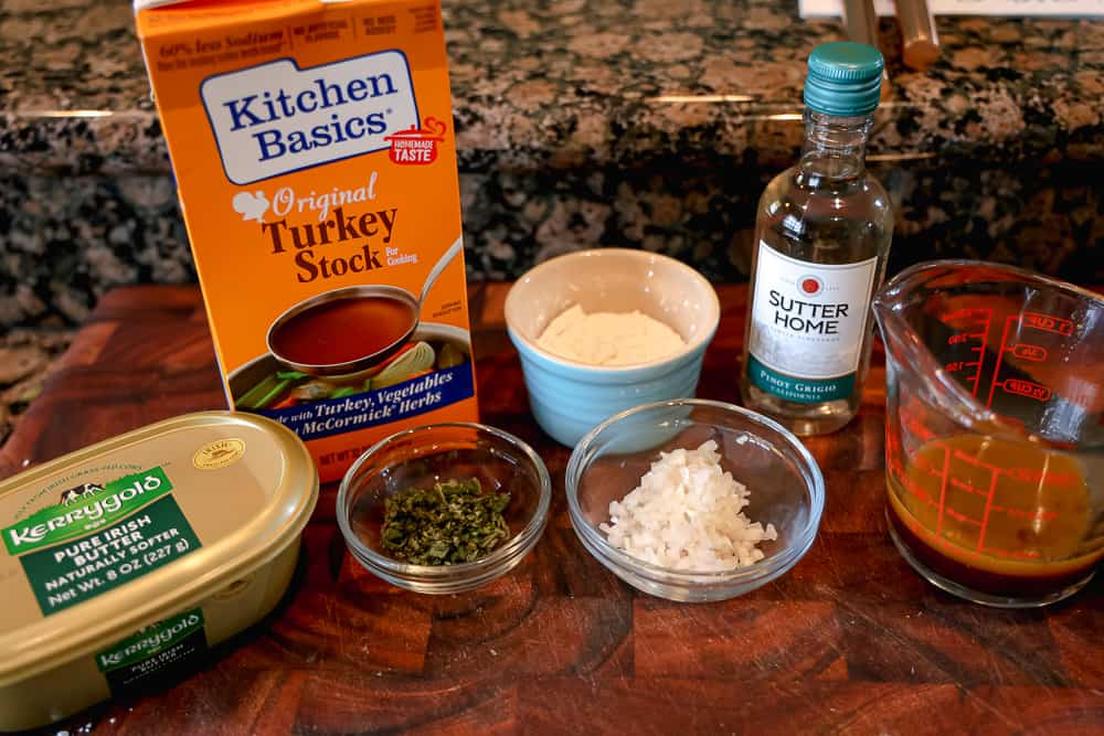turkey gravy ingredients on cutting board