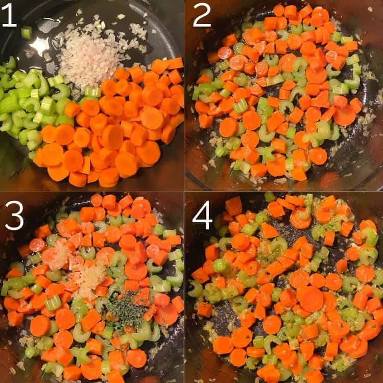 step by step cooking vegetables for soup in dutch oven