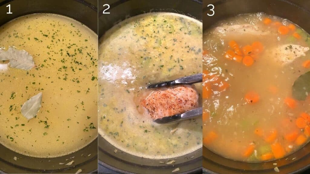 chicken soup broth in dutch oven simmering