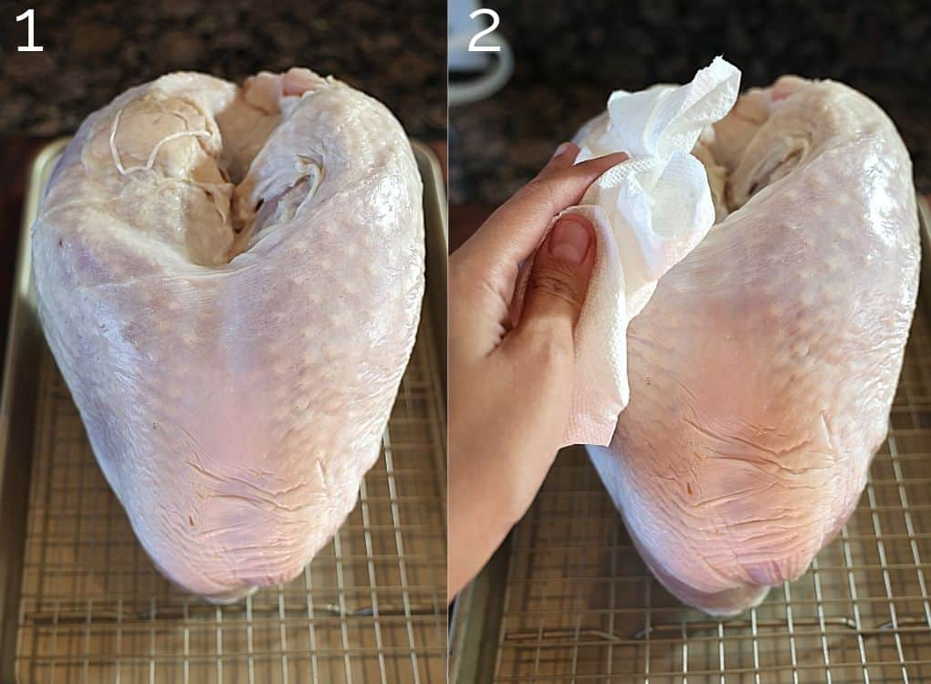 drying turkey with paper towel
