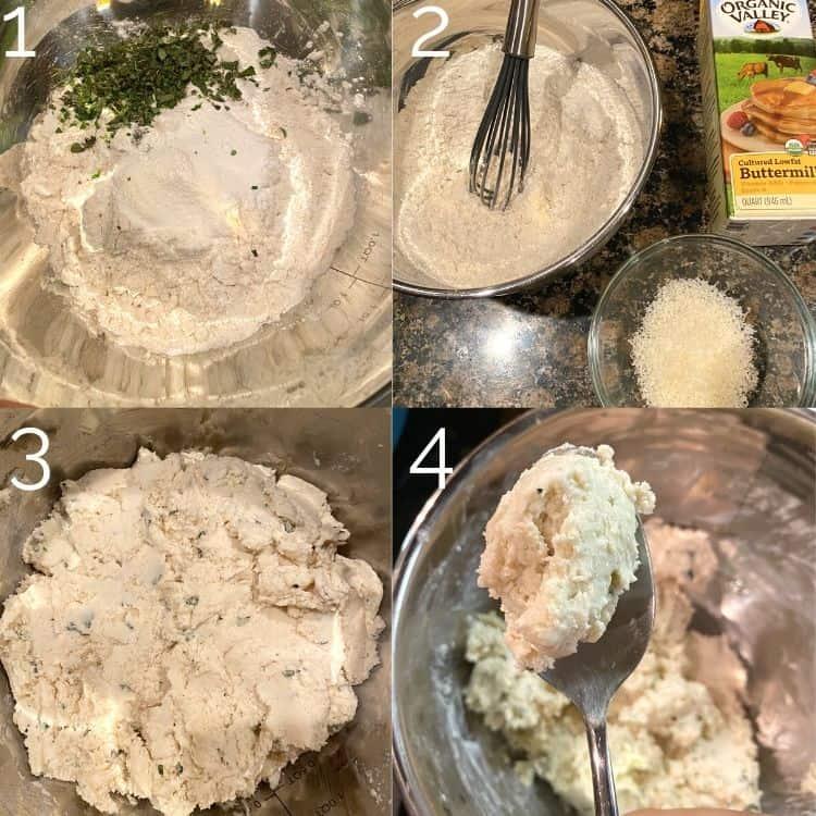making herb dumplings in a silver bowl
