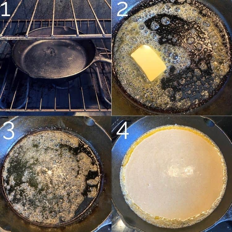 melting butter in a cast iron skillet