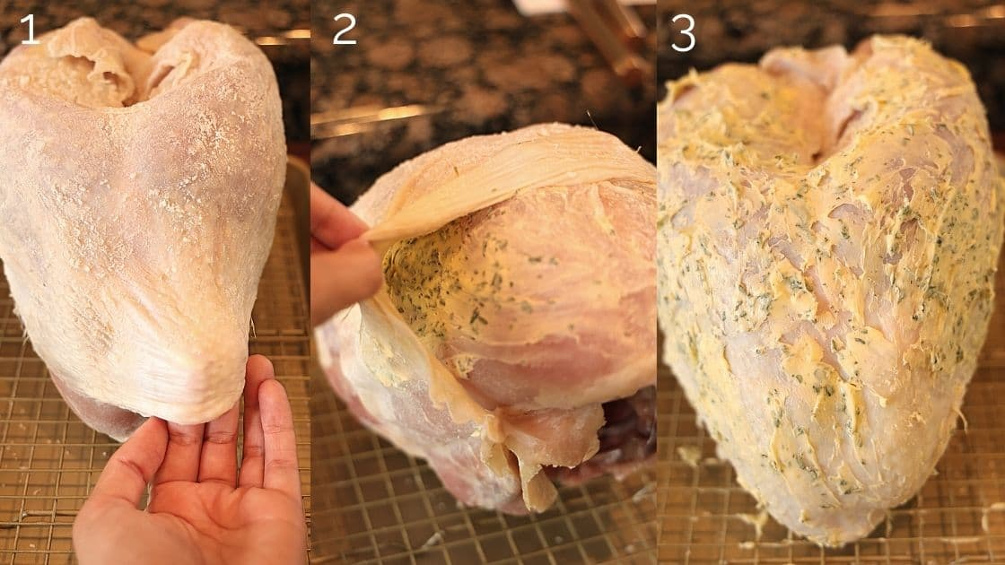 turkey skin getting stuffed with herb butter