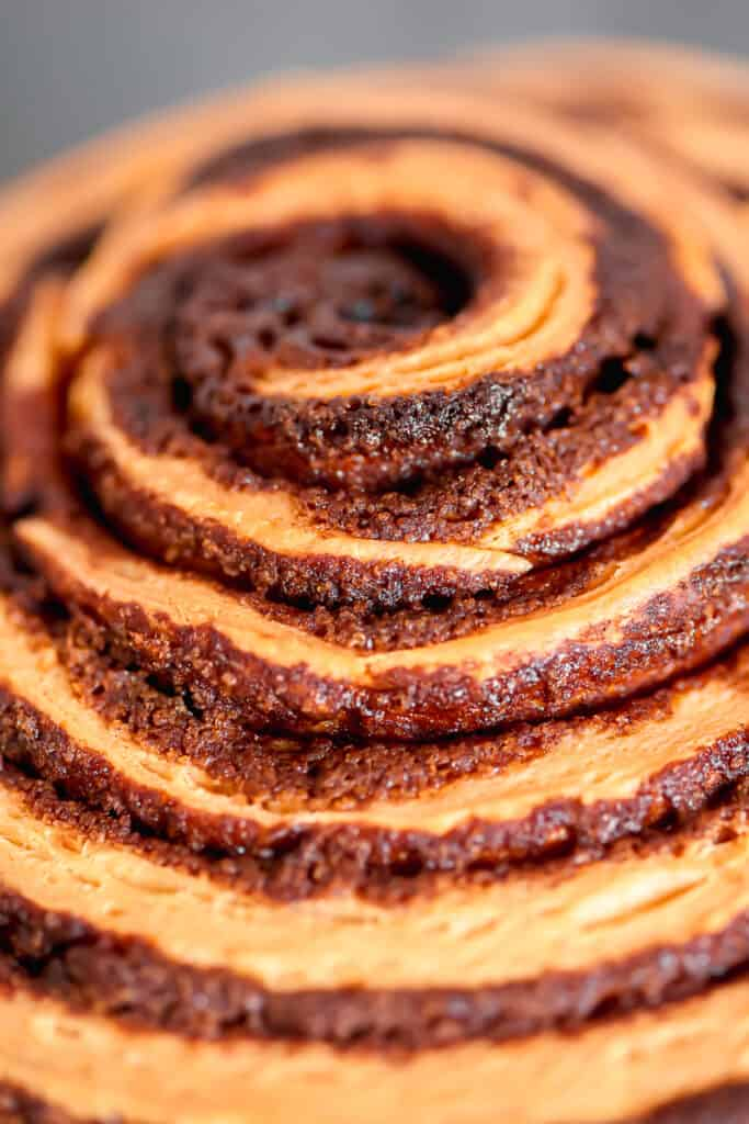 close up of cinnamon roll layers