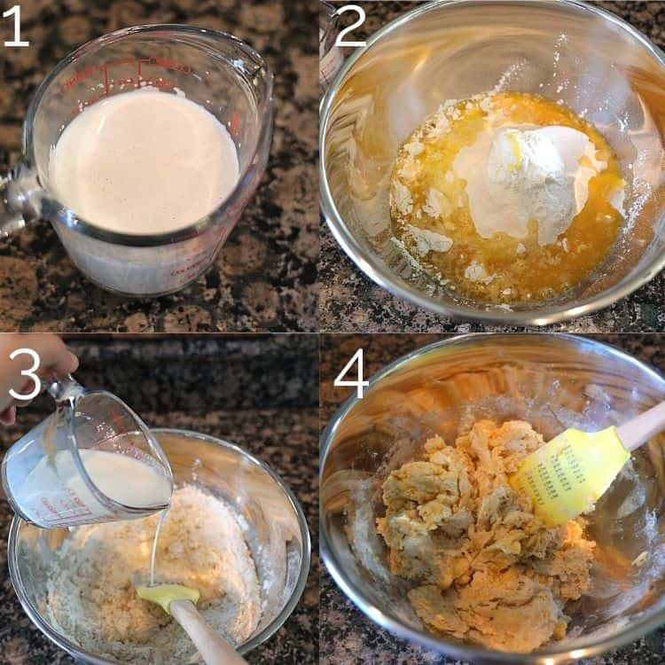 steps of adding yeast, milk, butter, to flour and making a dough