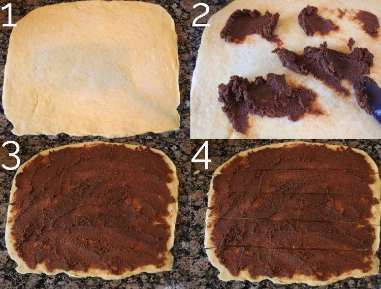 spreading cinnamon filling on dough