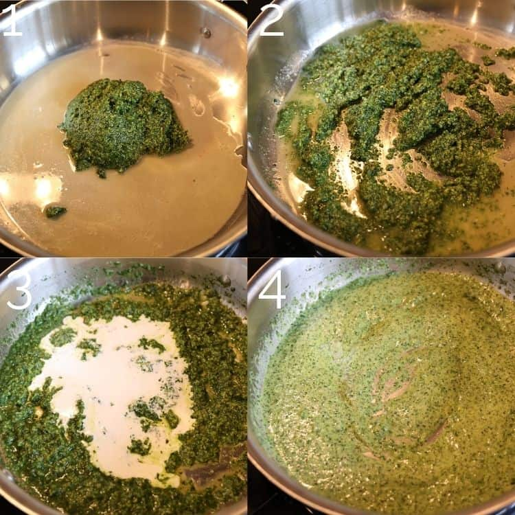 mixing pesto with cream in skillet