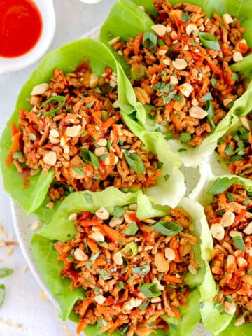 overhead photo of chicken lettuce wraps on a plate