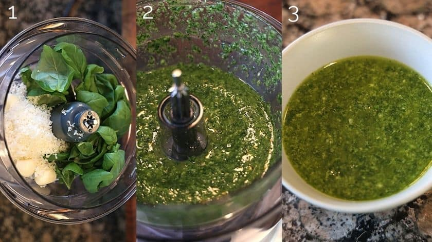 pistou sauce being blended in food processor