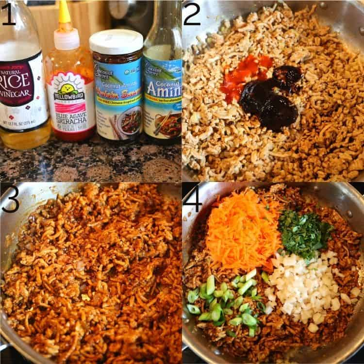 adding sauce to ground chicken and carrots, chestnuts, cilantro, and onion