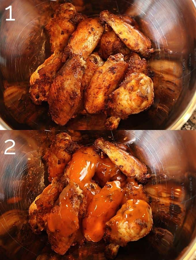 cooked chicken wings being tossed in buffalo sauce