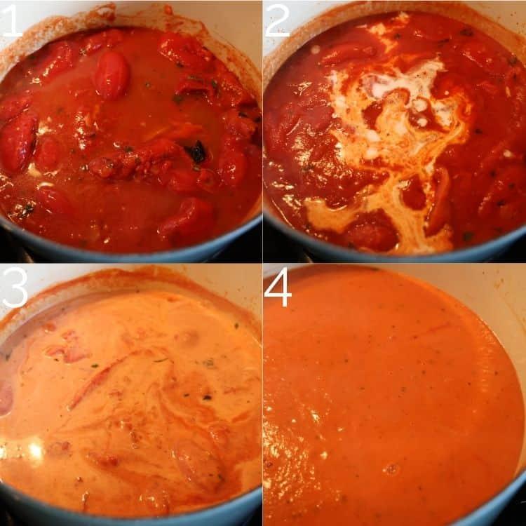 adding broth and cream to tomato soup