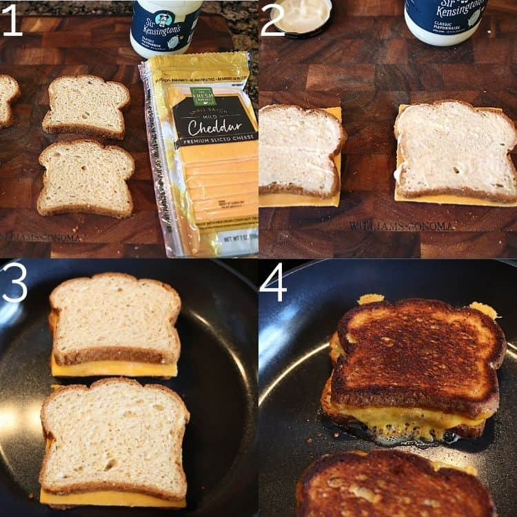 making grilled cheese in skillet