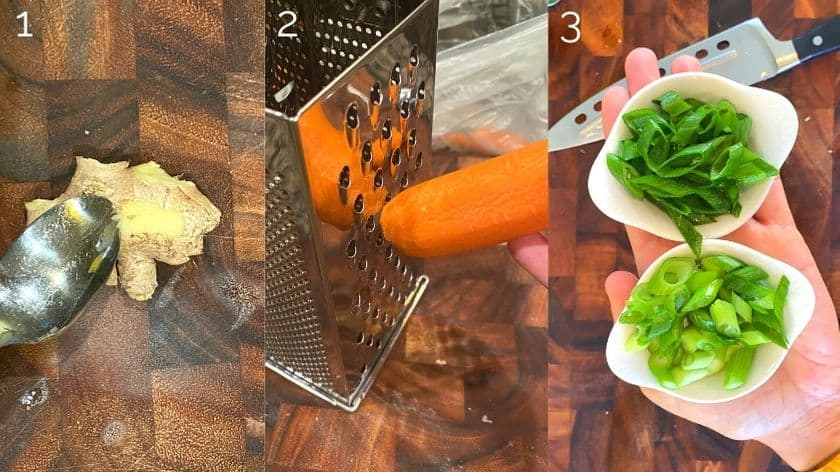 peeling ginger, grating carrots, and chopped green onion